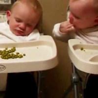 双胞胎宝宝一起吃零食,不料弟弟睡着了,哥哥的做法意想不到!